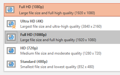 PowerPoint Export to Video Quality Options