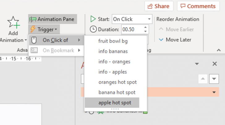 Triggers in PowerPoint